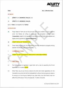 Head of Terms sample document