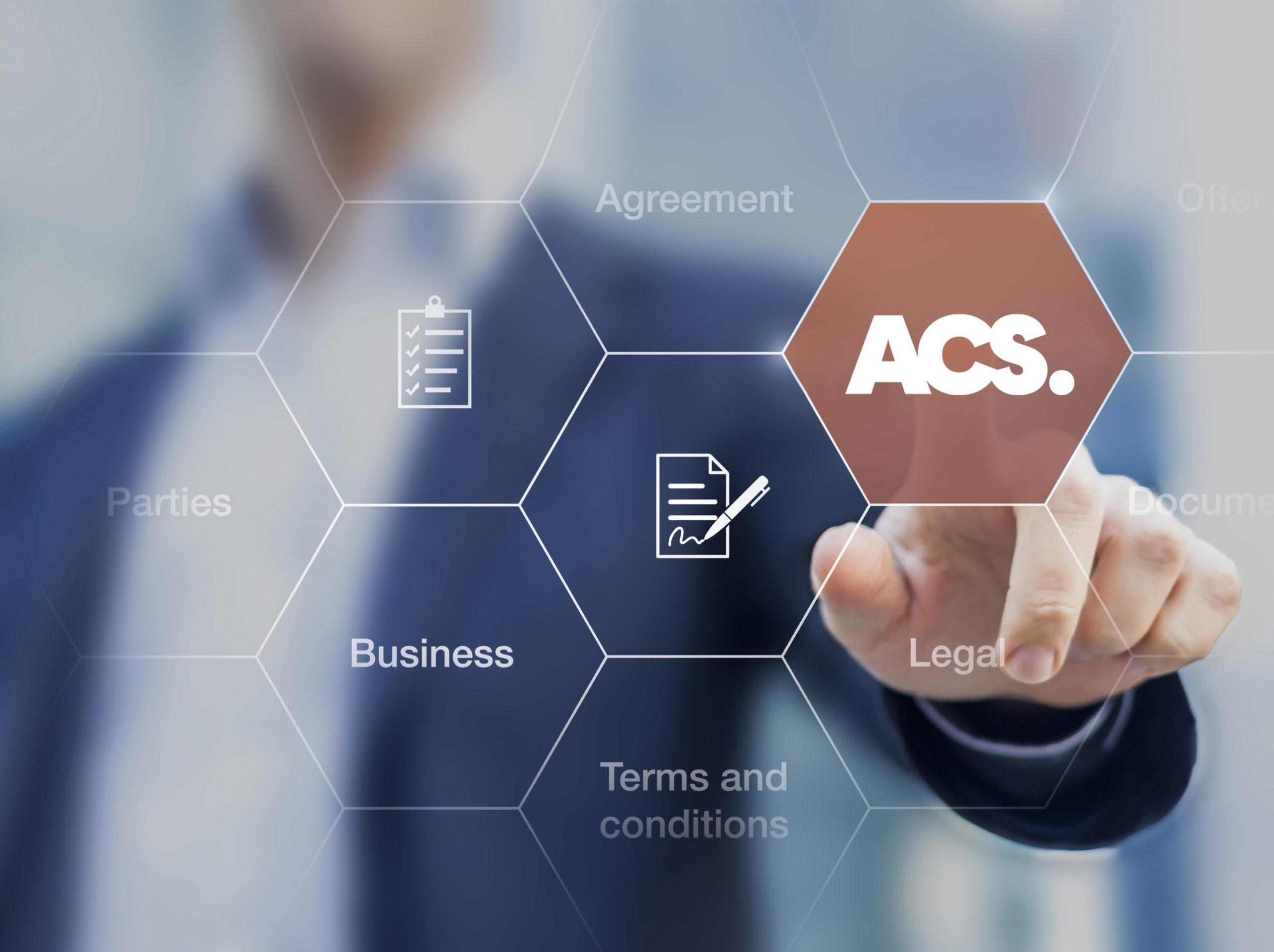 Businessman pressing ACS on a screen,